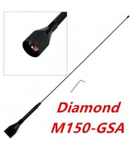 M150-GSA DIAMOND ANTENA VHF DE 1/4 ONDA CON MUELLE Y CONECTOR PL, EN NEGRO